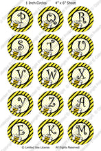 Digital Bottle Cap Images - Buzzy Bee Initials (ETR130) 1 Inch Circles for Bottlecaps, Magnets, Jewelry, Hairbows, Buttons
