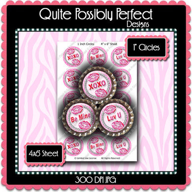 Digital Bottle Cap Images - Valentine Kisses Collage Sheet (H0208) 1 Inch Circles for Bottlecaps, Magnets, Jewelry, Hairbows, Buttons