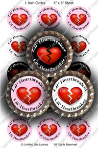 Digital Bottle Cap Images - Lil Heartbreaker Collage Sheet (H0209) 1 Inch Circles for Bottlecaps, Magnets, Jewelry, Hairbows, Buttons