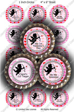 Digital Bottle Cap Images - Cupids Target Collage Sheet (H0210) 1 Inch Circles for Bottlecaps, Magnets, Jewelry, Hairbows, Buttons