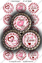 Digital Bottle Cap Images - Valentine Love Collage Sheet (H0211) 1 Inch Circles for Bottlecaps, Magnets, Jewelry, Hairbows, Buttons