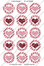 Digital Bottle Cap Images - Glitter Hearts Collage Sheet (H0212) 1 Inch Circles for Bottlecaps, Magnets, Jewelry, Hairbows, Buttons