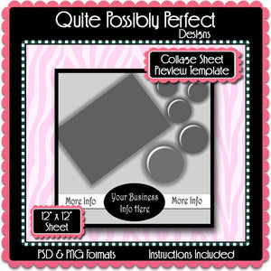 Collage Sheet Preview Template Instant Download PSD and PNG Formats (Temp633) Digital Bottlecap Collage Sheet Template