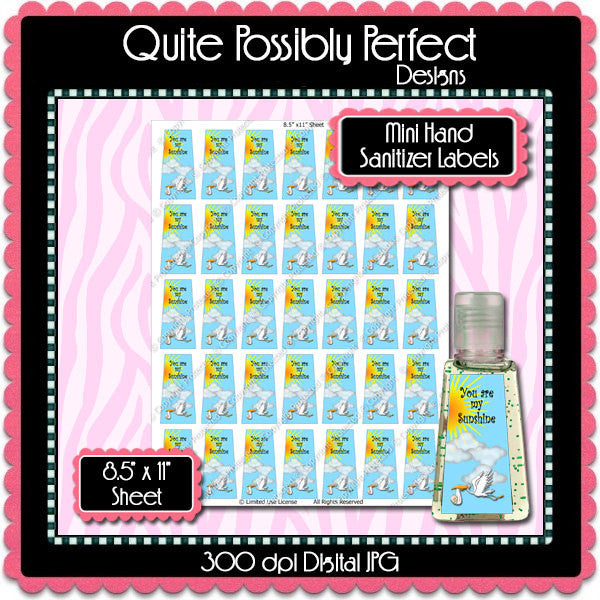 Digital Sunshine Stork Mini Hand Sanitizer Label  -  Instant Download (M142) Digital Party Graphics - PERSONAL USE Only