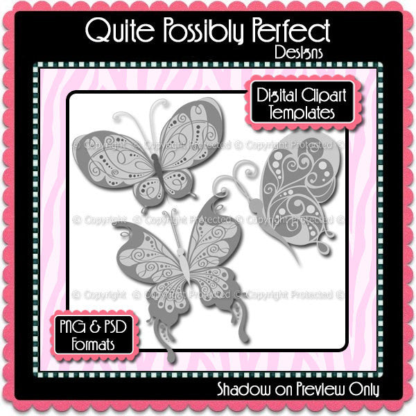 PSD Layered Digital Template - Butterfly 2 Clipart Template (ca105) CU Template for Creating Your Own Clipart Commercial Use OK