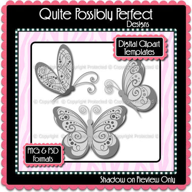 PSD Layered Digital Template - Butterfly 3 Clipart Template (ca104) CU Template for Creating Your Own Clipart Commercial Use OK