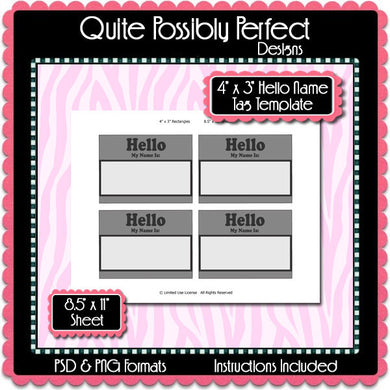 4 x 3 Inch Hello Rectangle Template Instant Download PSD and PNG Formats (Temp632) 8.5x11 Inch Digital Bottlecap Collage Sheet Template