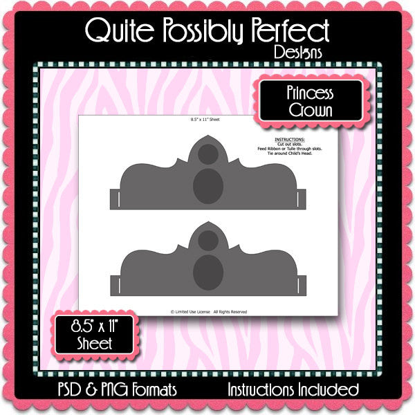 Princess Crown Template Instant Download PSD and PNG Formats (Temp641) Digital Bottlecap Collage Sheet Template