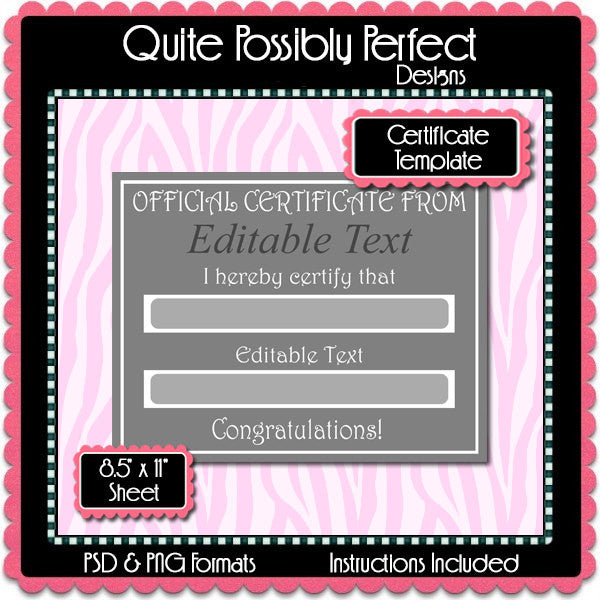 Certificate Template Instant Download PSD and PNG Formats (Temp642) Digital Bottlecap Collage Sheet Template