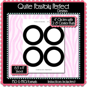 "4"" Circles with Center Mats Template Instant Download PSD and PNG Formats (Temp643) Digital Bottlecap Collage Sheet Template"