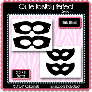 Party Masks Template Instant Download PSD and PNG Formats (Temp649) Digital Bottlecap Collage Sheet Template