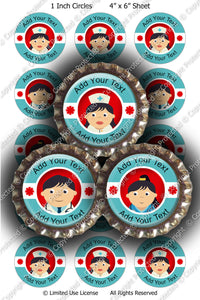 Editable Bottle Cap Images - Instant Download JPG & PSD Formats - Medical Professionals  (ET199) Digital Bottlecap Collage Sheet