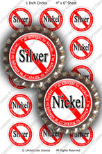 Digital Bottle Cap Images - Silver Nickel Allergies (ETR133) 1 Inch Circles for Bottlecaps, Magnets, Jewelry, Hairbows, Buttons