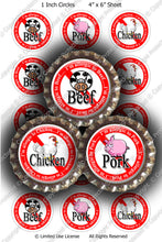 Digital Bottle Cap Images - Beef Pork Chicken Allergies (ETR135) 1 Inch Circles for Bottlecaps, Magnets, Jewelry, Hairbows, Buttons