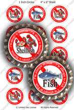 Digital Bottle Cap Images - Shellfish Fish Allergies (ETR136) 1 Inch Circles for Bottlecaps, Magnets, Jewelry, Hairbows, Buttons