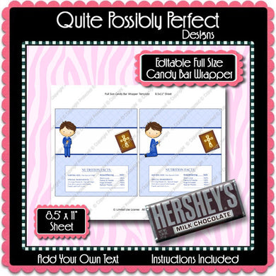 Digital Communion Boy Candy Bar Label  -  Instant Download (M146) Digital Party Graphics - PERSONAL USE Only