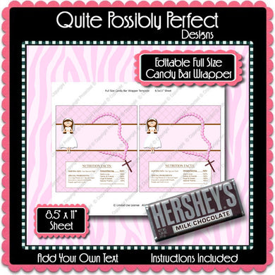 Digital Communion Girl 4 Candy Bar Label  -  Instant Download (M150) Digital Party Graphics - PERSONAL USE Only