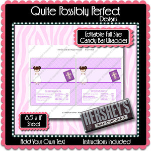 Digital Communion Girl 2 Candy Bar Label  -  Instant Download (M148) Digital Party Graphics - PERSONAL USE Only