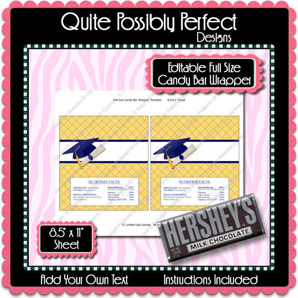 Digital Graduation Candy Bar Label  -  Instant Download (M145) Digital Party Graphics - PERSONAL USE Only