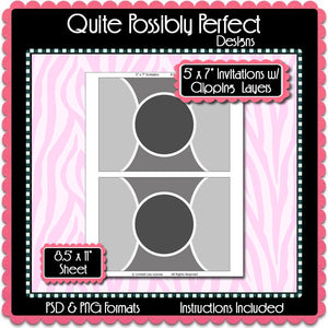"5x7"" InvitationTemplate with Clipping Layers Instant Download PSD and PNG Formats (Temp658) Digital Bottlecap Collage Sheet Template"