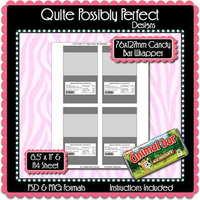 Candy Bar Wrapper Template Instant Download PSD and PNG Formats (Temp660) A4 Paper Included Digital Collage Sheet Template