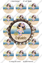 Editable Bottle Cap Images - Instant Download JPG & PDF Formats - Beach Princess  (E544) Digital Bottlecap Collage Sheet