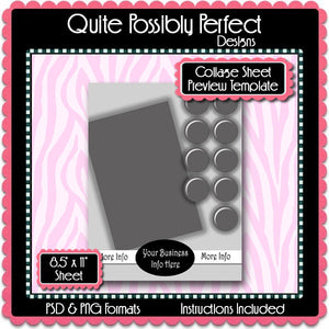 Collage Sheet Preview Template Instant Download PSD and PNG Formats (Temp662) Digital Bottlecap Collage Sheet Template