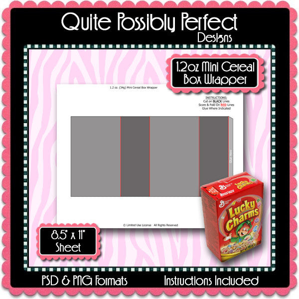 Mini Cereal Box Wrapper Template Instant Download PSD and PNG Formats (Temp663) Cereal Box Labels Digital Bottlecap Collage Sheet Template