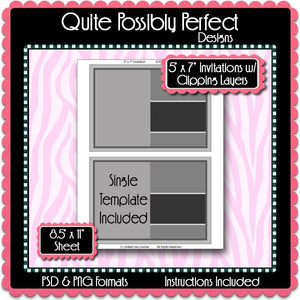 "5x7"" InvitationTemplate with Clipping Layers Instant Download PSD and PNG Formats (Temp675) Digital Bottlecap Collage Sheet Template"