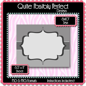 "8x10"" Sign Template with Clipping Layers Instant Download PSD and PNG Formats (Temp697) Digital Bottlecap Collage Sheet Template"