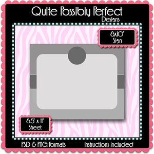 "8x10"" Sign Template with Clipping Layers Instant Download PSD and PNG Formats (Temp699) Digital Bottlecap Collage Sheet Template"