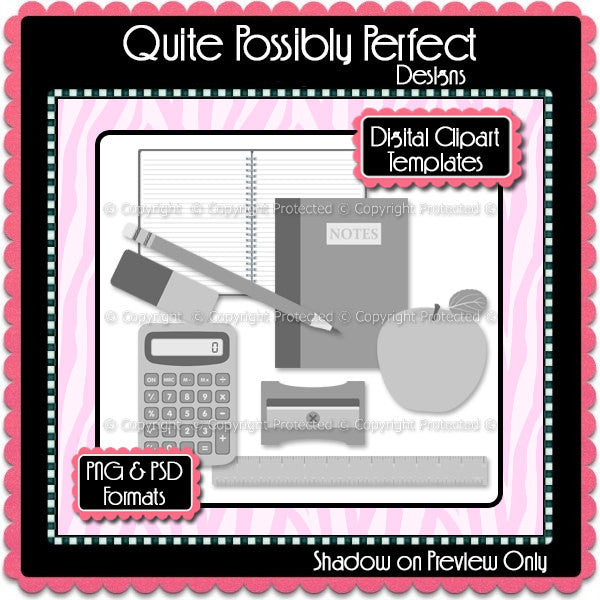 PSD Layered Digital Template - School Supplies Clipart Template (ca106) CU Digital Template for Creating Your Own Clipart Commercial Use OK