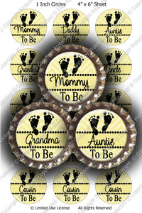 Digital Bottle Cap Images - Chevron Baby To Be Yellow (ETR138) 1 Inch Circles for Bottlecaps, Magnets, Jewelry, Hairbows, Buttons