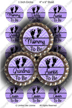 Digital Bottle Cap Images - Chevron Baby To Be Lavender (ETR140) 1 Inch Circles for Bottlecaps, Magnets, Jewelry, Hairbows, Buttons