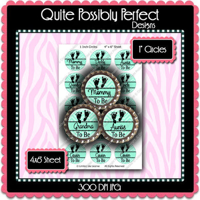 Digital Bottle Cap Images - Chevron Baby To Be Green (ETR139) 1 Inch Circles for Bottlecaps, Magnets, Jewelry, Hairbows, Buttons