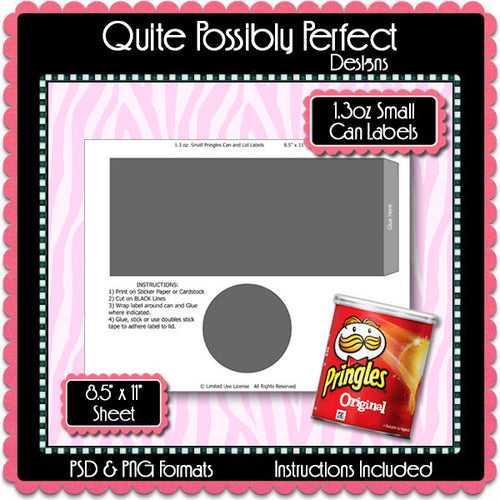 1.3 oz. Small Potato Chip Can Label Template Instant Download PSD and PNG Formats (Temp706) 8.5x11