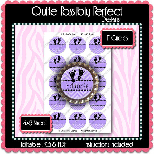 Editable Bottle Cap Images - Instant Download JPG & PDF Formats - Lavender Chevron Baby Footprints (ET192) Digital Bottlecap Collage Sheet
