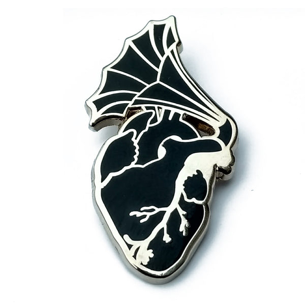 anatomical heart phonograph enamel pin