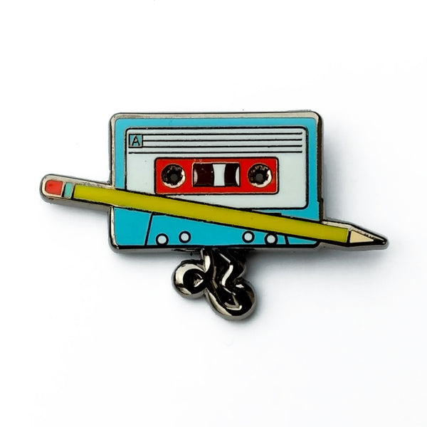 Cassette Tape and Pencil Enamel Pin