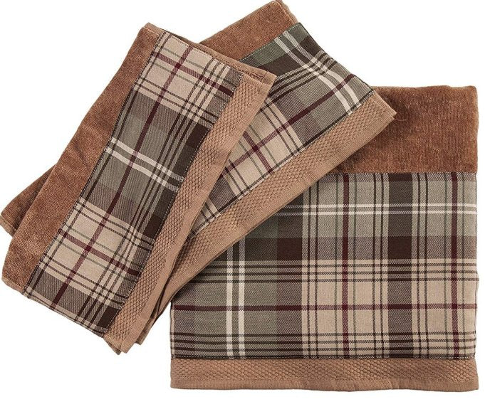 Rustic Brown Plaid Cotton Towel Sets