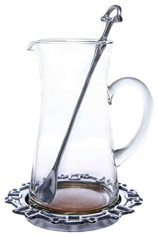 Horse Bit Sand-Cast Equestrian Bar Pitcher Set