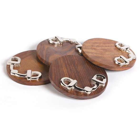 Snaffle Bit Wood Coaster Set