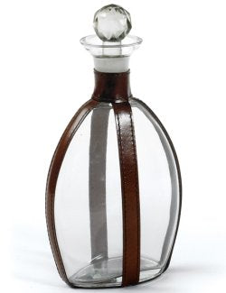 Leather-Strapped Glass Decanter