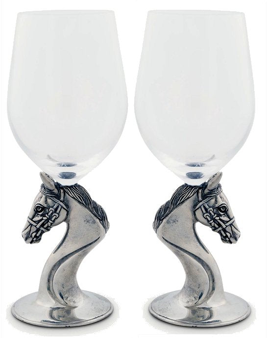 Pewter Based Thoroughbred Wine Glass Set