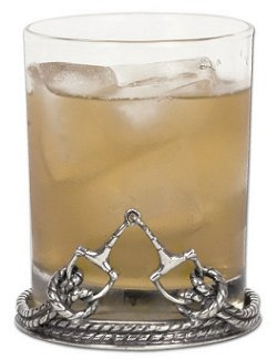 Pewter Base Roped Horse Bit DOF/Rocks Glass Set