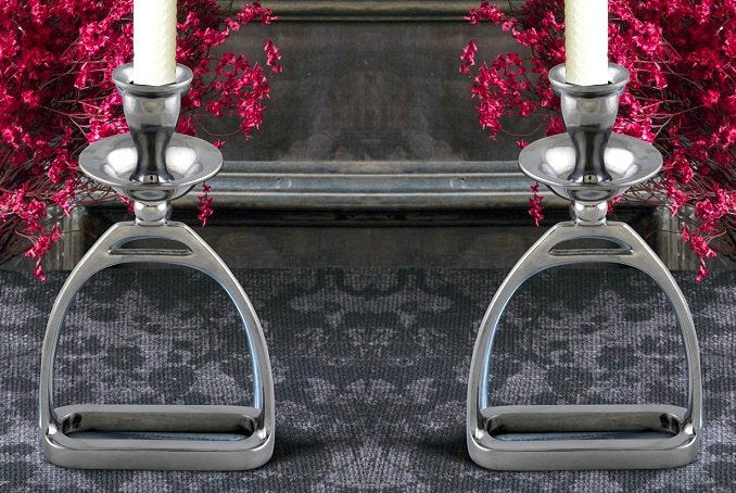 Polished Aluminum Stirrup Candleholder Set