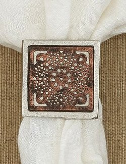 Square Medallion Napkin Ring Set