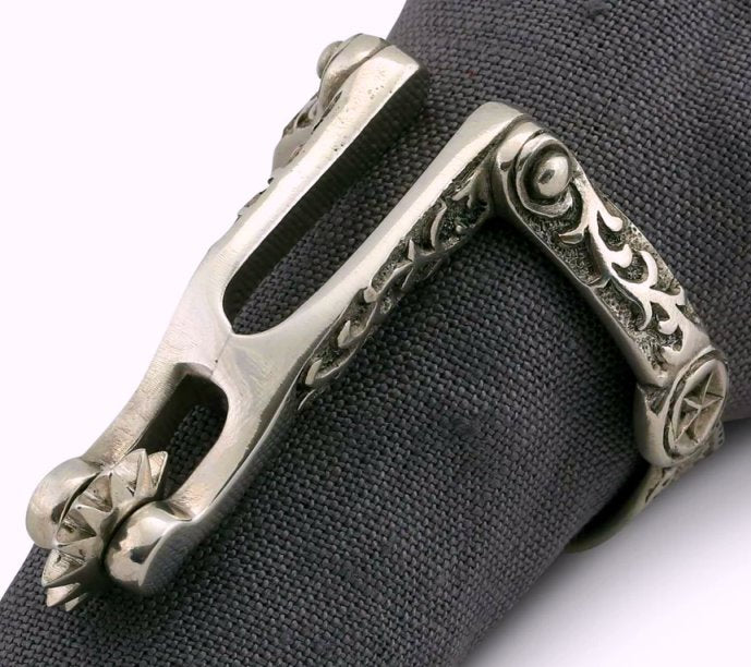 Working Spur Pewter Napkin Ring Set