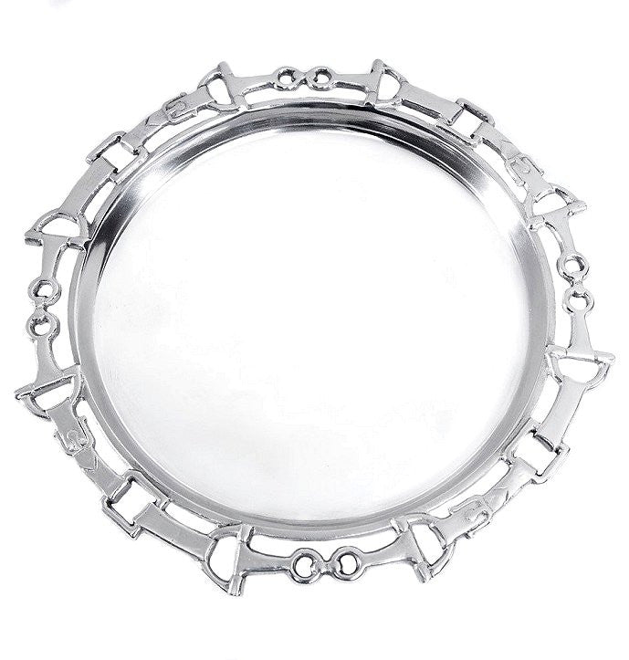Polished Aluminum Horse Bit Round Serving Tray
