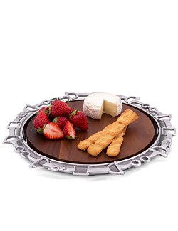 Polished Aluminum Equine Wood Serving Platter